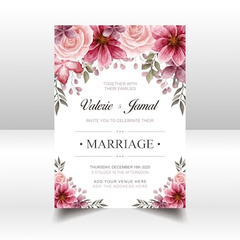 Luxury red wedding invitation card template with watercolor floral