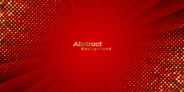 Luxury red zoom background with abstract lines and golden dots.