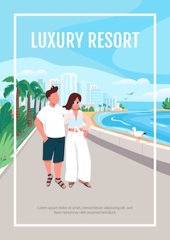 高級リゾートポスターテンプレート。海岸沿いを歩く愛のカップル。パンフレット、小冊子1ページ、漫画のキャラクター。ロマンチックな夏の休日チラシ、リーフレット