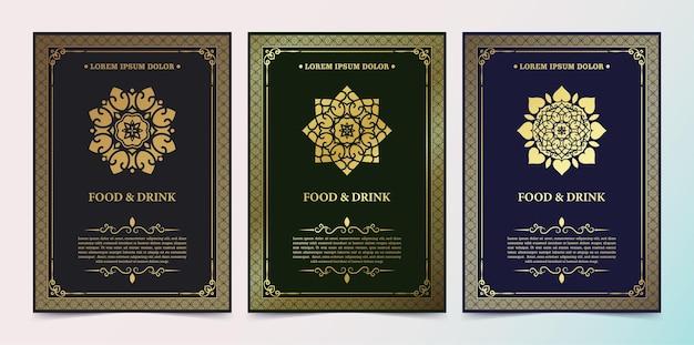 Шаблон дизайна меню роскошного ресторана с богато украшенным логотипом