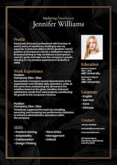 Luxury resume editable template in black and gold