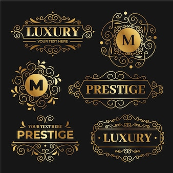 Luxury retro logo templates set