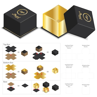 Luxury rigid box for product mockup with dieline