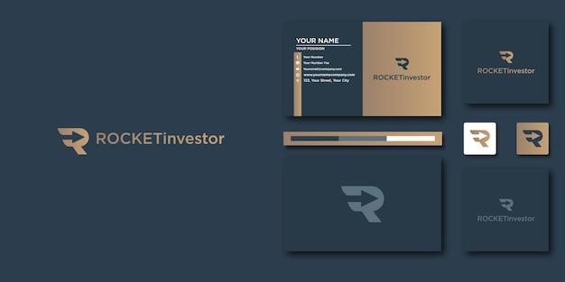 Роскошный логотип ракеты. роскошный аннотация для дизайна логотипа и визитной карточки