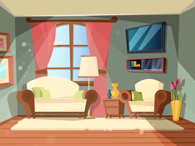 ラグジュアリールーム。完璧な古い木製の家具付きのリビングルームのプレミアムインテリアラウンジ場所漫画イラスト