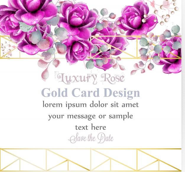 Luxury rose flowers watercolor card