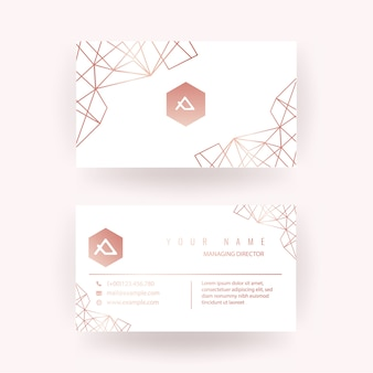 Luxury rose gold business card design with geometric style