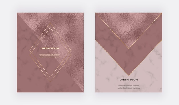 Luxury rose gold design cards with foil and marble texture and golden polygonal lines and frames.
