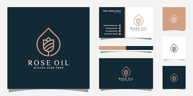 Роскошный логотип розового масла и шаблон визитной карточки.
