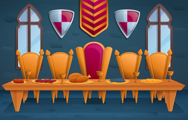 Luxury royal feast in the throne room, illustration