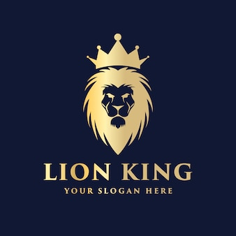 Luxury royal lion head with crown logo design