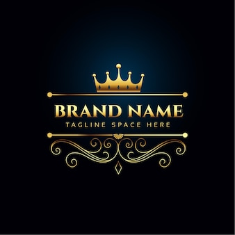 Luxury royal logo concept with golden crown