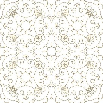 豪華なロイヤルシームレスパターン。白地に金色の幾何学的なライン。印刷、パッケージデザイン、ラッピング、繊維のエレガントなイラスト