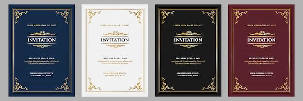 結婚式の招待状の誕生日の黄金と黒のテンプレートのフレームと豪華なロイヤルヴィンテージ飾りスタイルの招待状カード