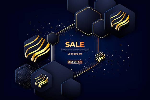 Luxury sale background with golden details