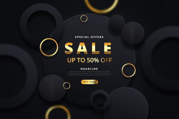 Luxury sale wallpaper with golden elements