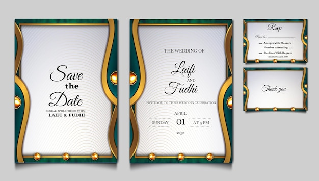 Luxury save the date wedding invitation card design set