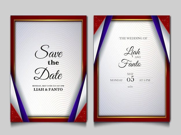 Luxury save the date wedding invitation card set