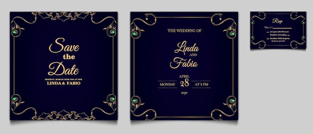 Luxury save the date wedding invitation card template set
