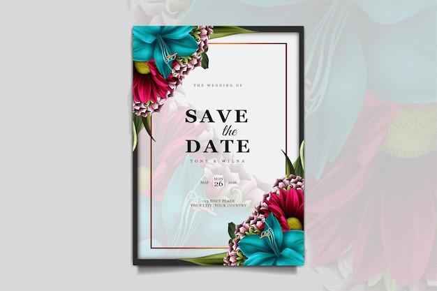 Luxury save the date wedding invitation card template set
