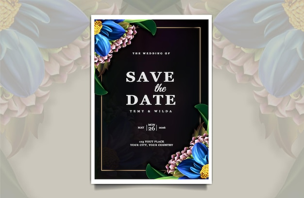 Luxury save the date wedding invitation card template