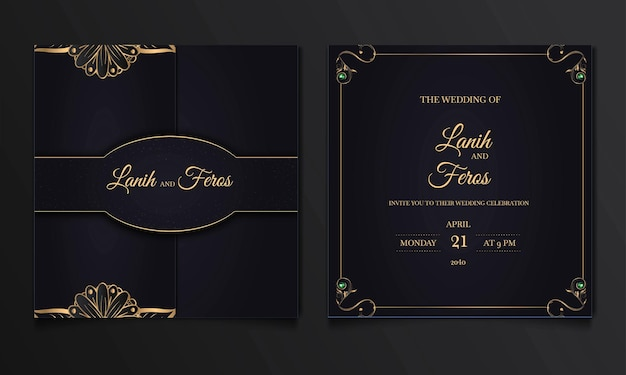 Luxury save the date wedding invitation cards set