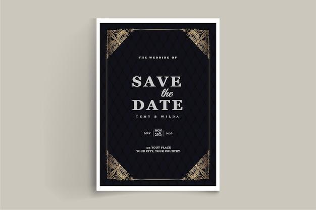 豪華な日付の結婚式の招待カード セットを保存します。