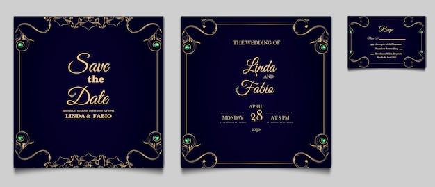 럭셔리 저장 날짜 결혼식 초대 카드 템플릿 세트