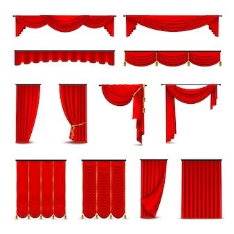 高級緋色の赤い絹のベルベットのカーテンやカーテンの室内装飾デザインのアイデアリアルなico