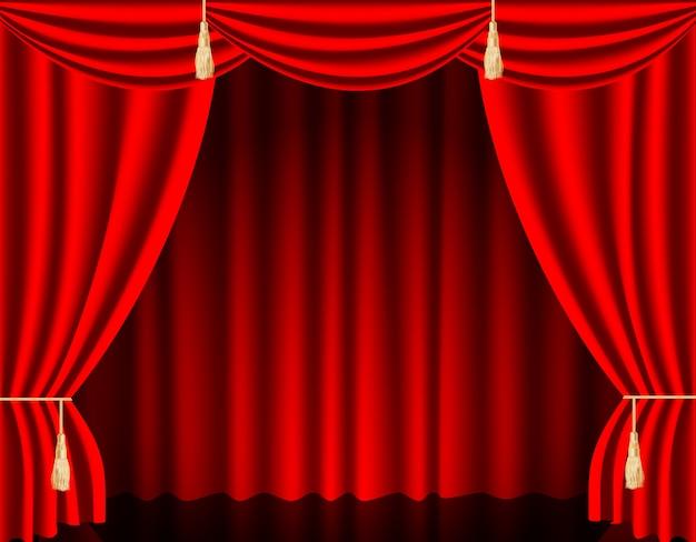 Роскошные алые красные шелковые бархатные шторы и драпировки, оформление интерьера, идеи дизайна, реалистичные иконки.