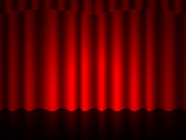 Luxury scarlet red silk velvet curtains and draperies interior decoration design ideas realistic icons.