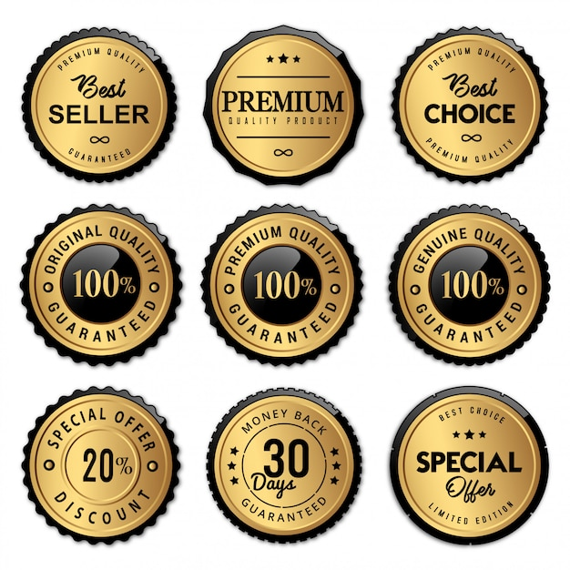 Luxury seal badges and labels premium quality