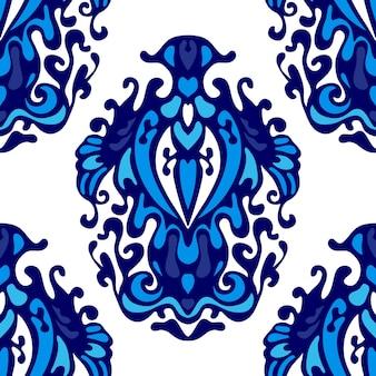 Роскошный бесшовные дамасской цветочный узор вектор для ткани