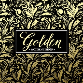 Luxury seamless pattern background with gold frame