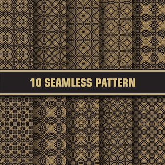 Luxury seamless pattern ornament set
