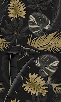 Luxury seamless pattern tropical leaves