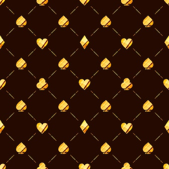 Luxury seamless pattern with bright glossy golden card suits icons like hearts, diamond, spades on brown