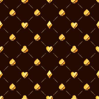 Роскошный бесшовный образец с яркой глянцевой золотой карточкой подходит для значков, таких как сердца, алмаз, пики на коричневом