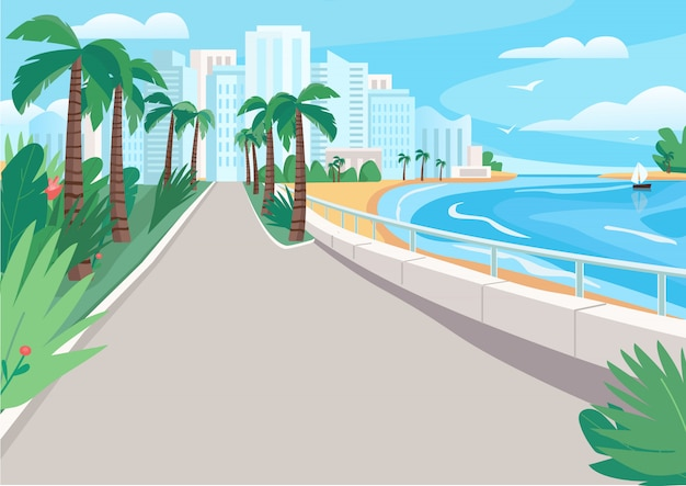 Luxury seaside resort street flat color vector illustration. waterfront with skyscrapers and tropical palms. seafront 2d cartoon landscape with sandy beach and city buildings on background
