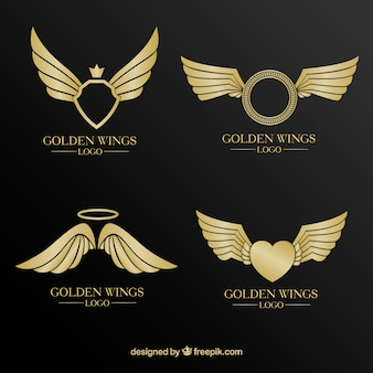 Luxury selection of golden logos with wings