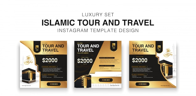 Luxury set of islamic tour and travel social media template design. hajj and umrah promotion design in black and gold color.