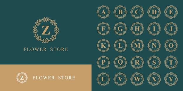 アルファベットモノグラムロゴコレクションの豪華なセット