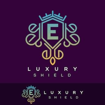 Luxury shield initial letter e logo design