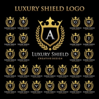 Luxury shield logo in alphabetic set