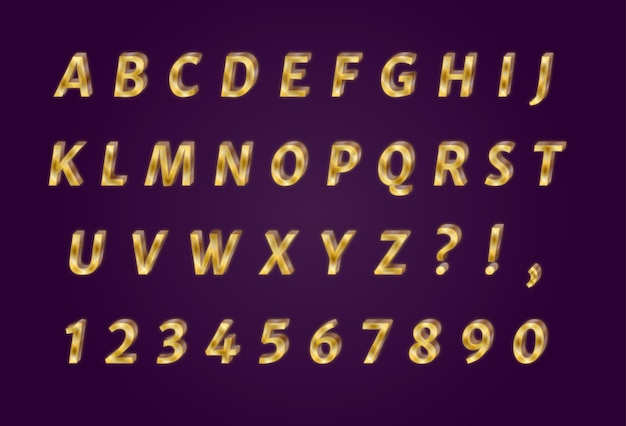 豪華な輝くゴールドのアルファベット番号セット