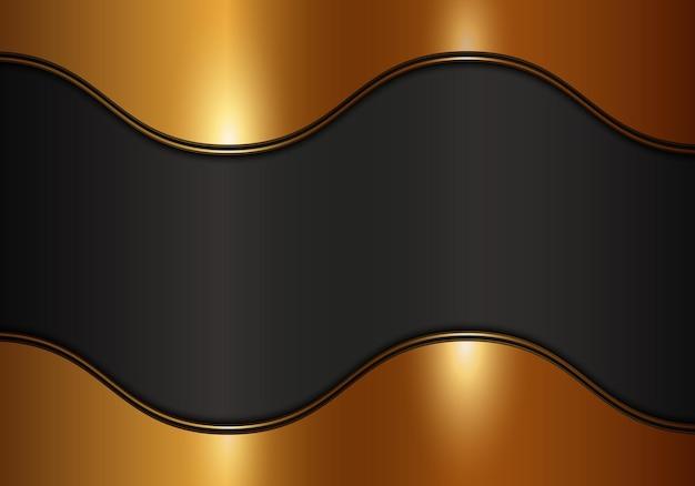 暗い背景に豪華な光沢のある金色の金属波。抽象的なモダンな背景。ベクトルイラスト。
