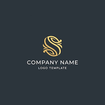 Luxury sign letter s. with leaf mark. premium logo