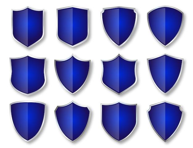 럭셔리 실버 및 블루 색상 방패, 배지 및 레이블