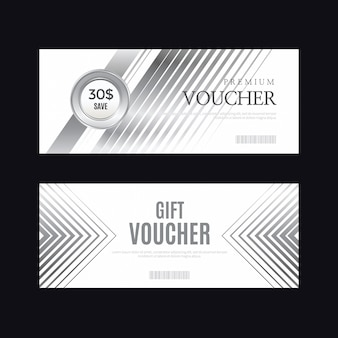 Luxury silver badge and labels, voucher card