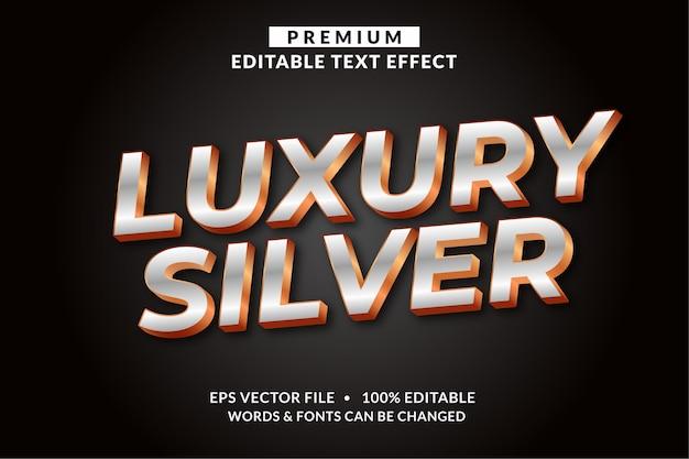 Роскошный серебристый, редактируемый стиль шрифта с текстовым эффектом